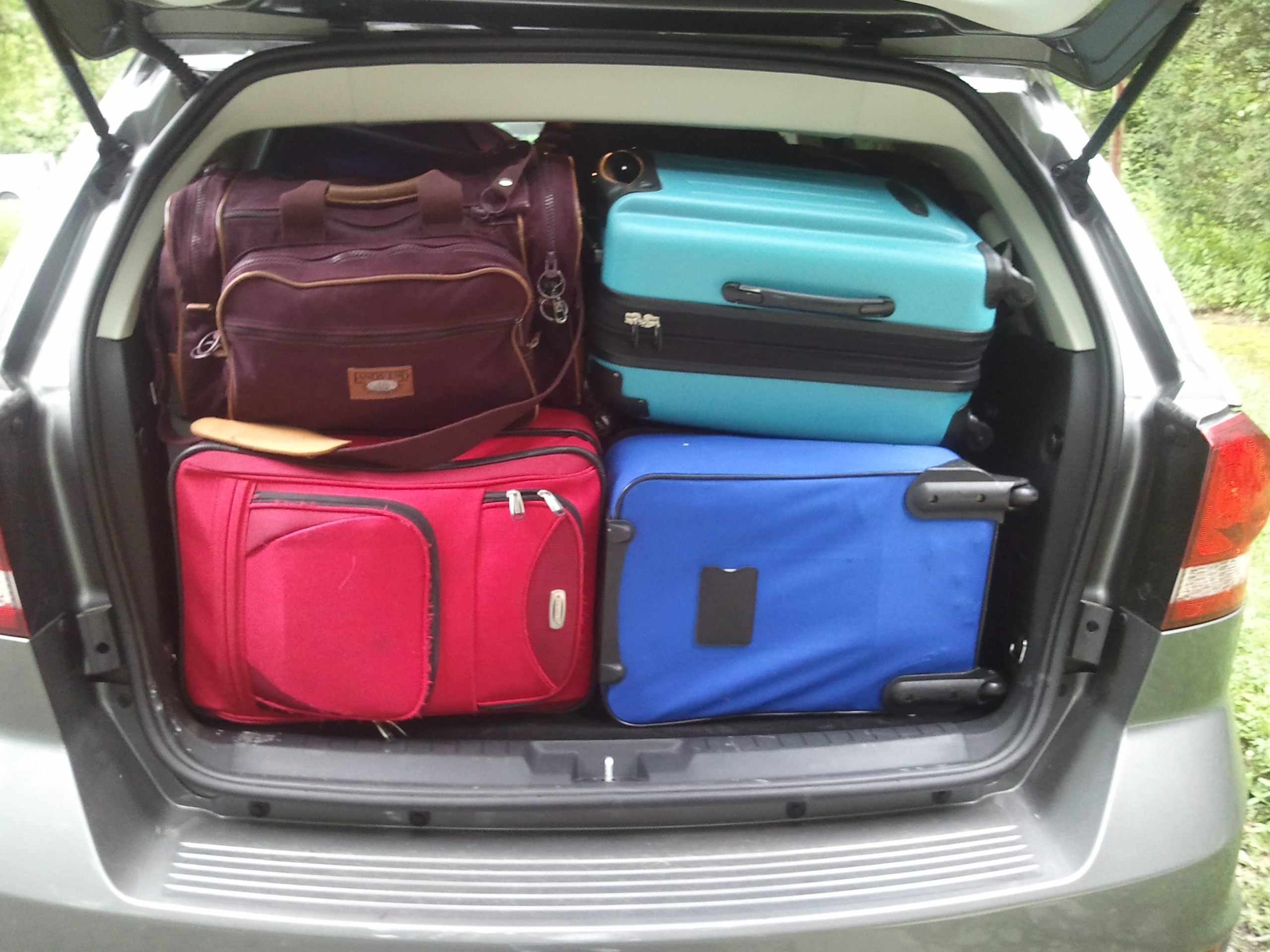 luggage filled car