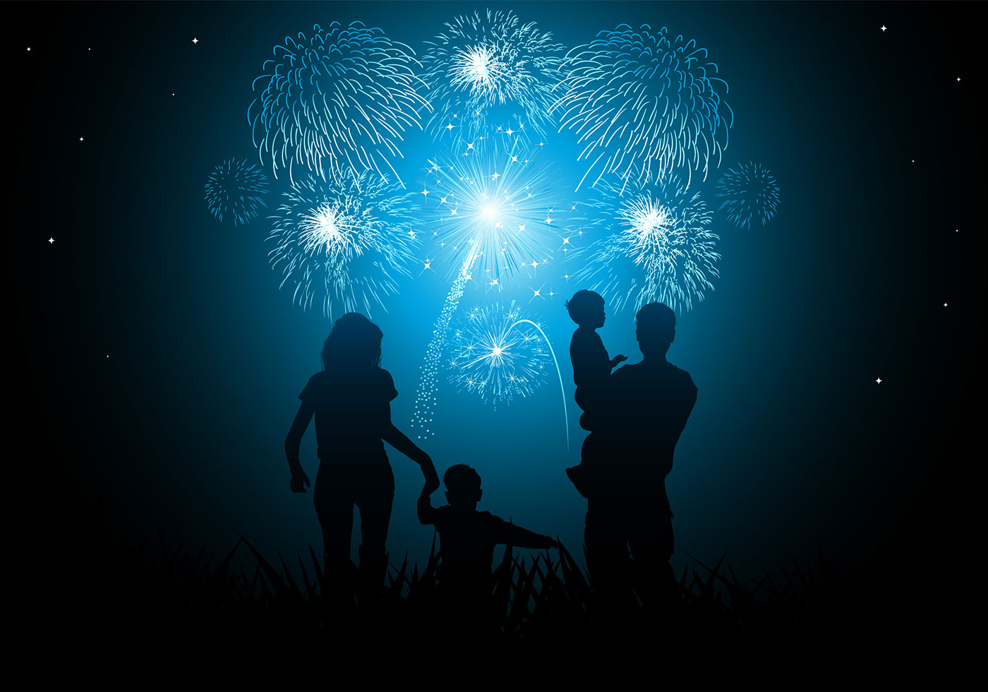silhouette family watching New Years fireworks