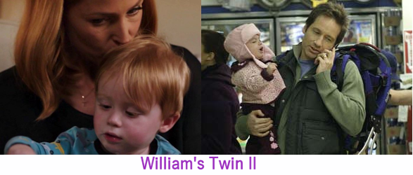 William held by Scully, baby girl held by Mulder